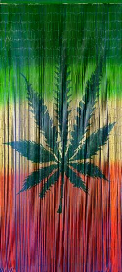 Bamboo doorway curtain with hemp leaf and rasta colors