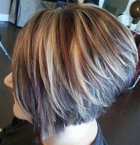 graduated bob haircut for chubby face soft chin length graduated bob chunky highlights short