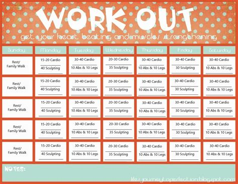 printable calendar exercise monthly workout calendar printable calendar template 2016