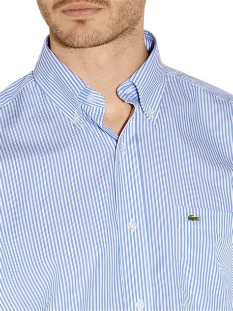 Kemeja Lacoste Stripe Blue lyst lacoste striped sleeved shirt in blue for