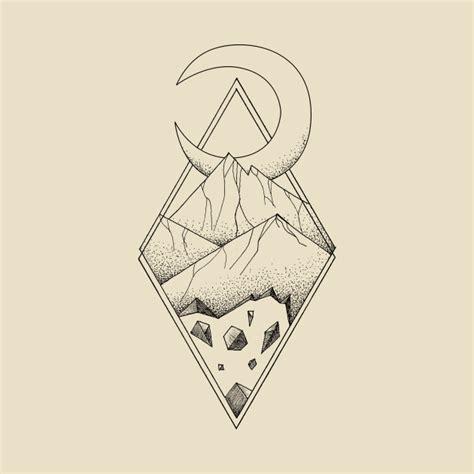 geometric mountain in a diamonds with moon tattoo style