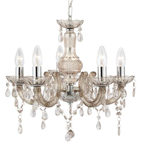Chandelier Glass Drops Therese Mink 5 Light Chandelier With Acrylic Glass Drops
