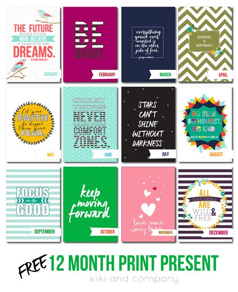 monthly date christmas presents 12 month print present free printables company