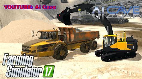 farming simulator  volvo mining equipment ece excavator  truck mods youtube