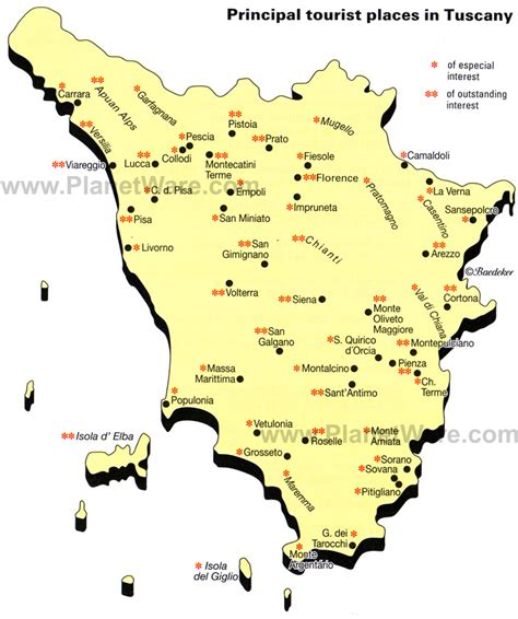 tuscany map 10 top tourist attractions in tuscany planetware