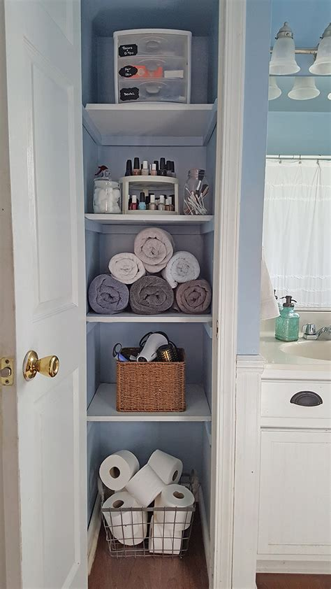 apartment bathroom storage ideas organized linen closet