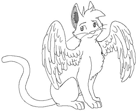 winged cat coloring page winged cat lines by demonickitty244 on deviantart