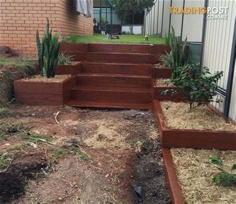 Wooden Sleepers Garden Edging by Landscaping Hardwood Sleepers Untreated For Sale In Moorooka Qld Landscaping Hardwood Sleepers