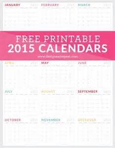 free printable 2015 monthly calendar