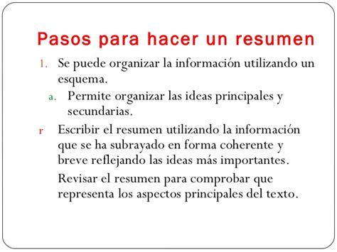 Resume For Un by Como Hacer Un Resumen