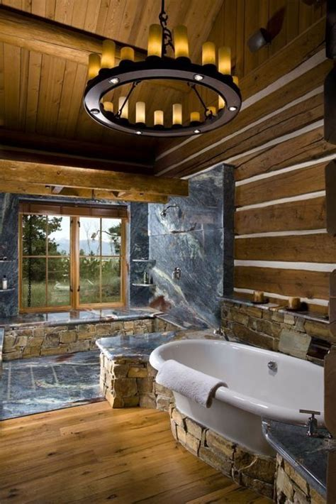 Log Cabin Bathrooms Cabin Bathroom House Pinterest