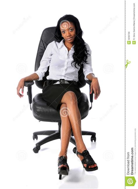 businesswoman sitting  office chair stock photo image