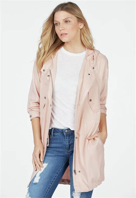 Siren Parka Dusty Pink longline parka jacket in dusty pink get great deals at justfab