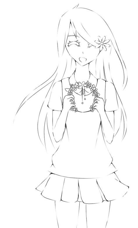 flowercrown anime girl lineart by akumadrawing on deviantart