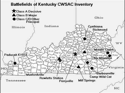 kentucky map civil war kentucky american civil war map of battles