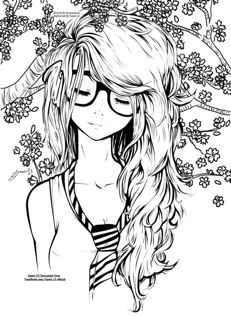 hard girly coloring pages cute girl by samir z3 on deviantart