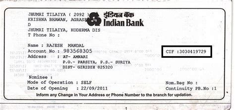 How To Cif Number For Indian Bank Account
