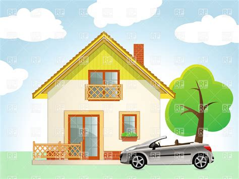 clipart house house with car and tree vector clipart image 5746 rfclipart