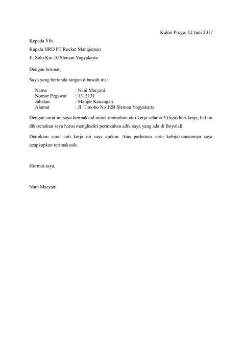 contoh surat cuti yang sesuai aturan