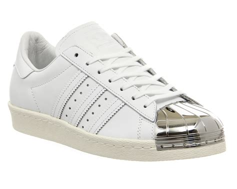 Adidas Silver adidas superstar 80 s metal toe trainers white white