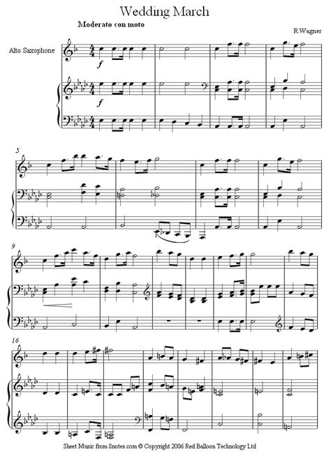 Wedding Songs Saxophone by Wagner Wedding March Sheet For Saxophone 8notes