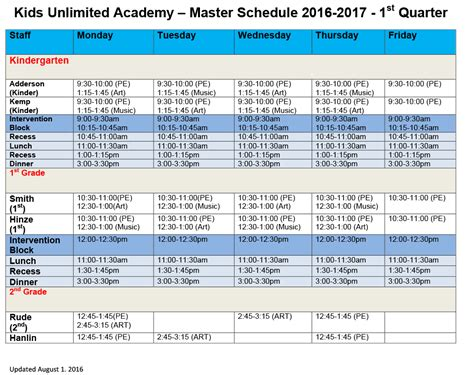 kids unlimited master schedule 2016