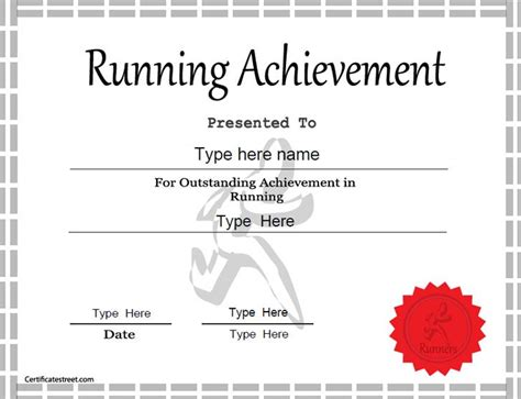 running certificates templates free sports certificate achievement in running