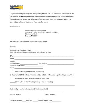 fillable online commitment form pdf kingsborough