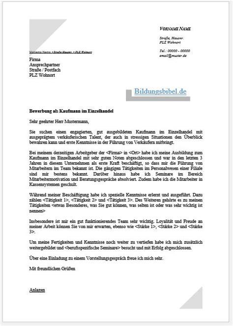 Bewerbungsschreiben Ausbildung Kaufmann Im Einzelhandel Bewerbung Verk 228 Uferin