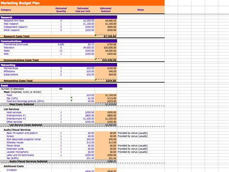 sle marketing budget template marketing and budget excel sheets excel xlsx templates