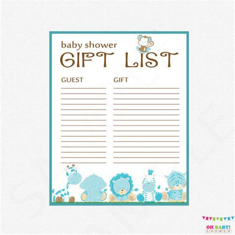 baby wish list template safari baby shower gift list printable from ohbabyshower on