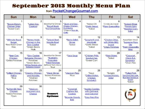 monthly food menu template weekly menu plan september 16 pocket change gourmet