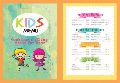 kids menu template 27 free premium download