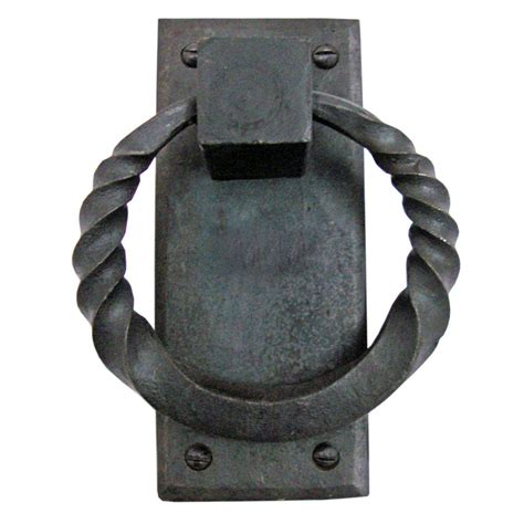 Handmade Iron - forged door knocker twisted plate handmade iron by g