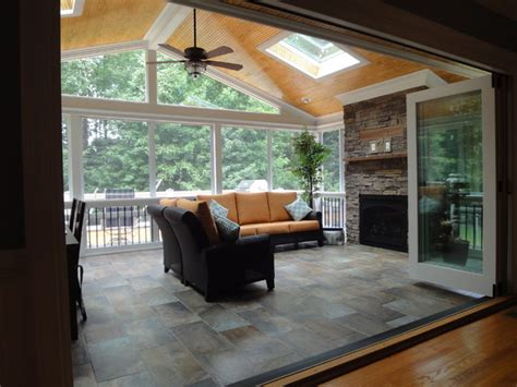 Gas Fireplaces Raleigh Nc by Raleigh Nc 3 Season Room With Outdoor Fireplace