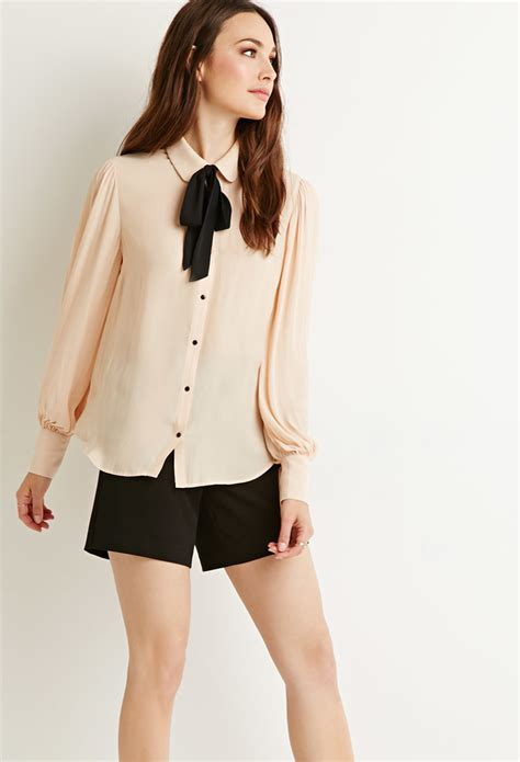 Blouse Rumbai Bow Black lyst forever 21 contemporary self tie bow blouse in