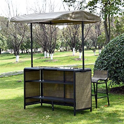 outsunny  piece outdoor mesh cloth canopy bar set table