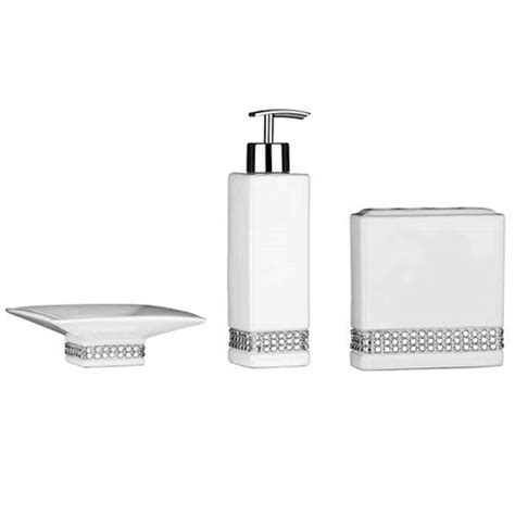 3 white radiance ceramic bathroom accessories set at