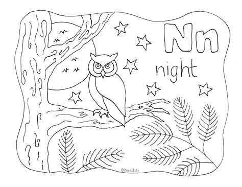 night animals coloring page nature alphabet coloring page letter n homeschool companion