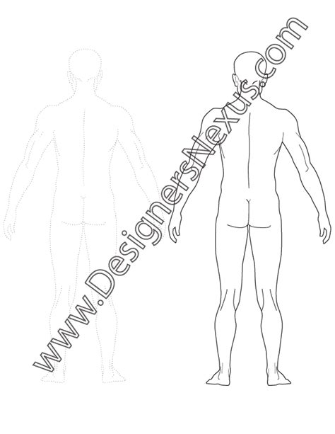 design by humans template v4 male fashion figure template back view designers nexus