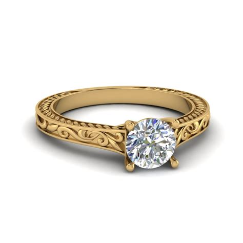 Engraved Solitaire Engagement Ring In 18k Yellow Gold by Cut Filigree Single Solitaire Engraved Shank
