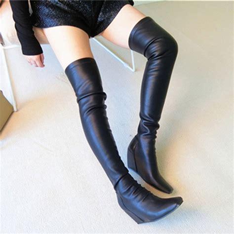 popular thigh high wedge boots buy cheap thigh high wedge