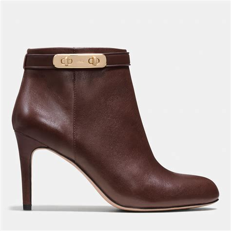 coach leather ankle boots in brown chestnut lyst