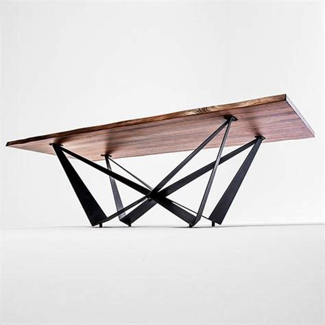 aksel dining table walnut slab top black steel base