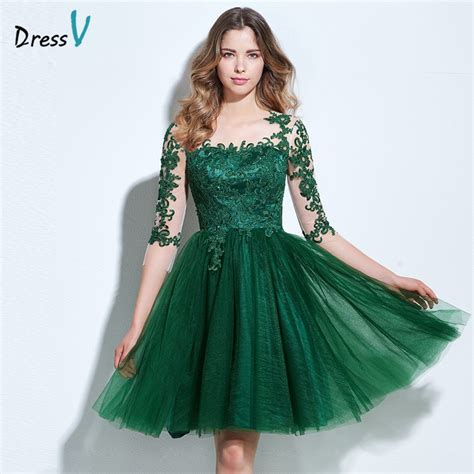 green cocktail dresses with sleeves dressv scoop neck a line cocktail dress green appliques 3