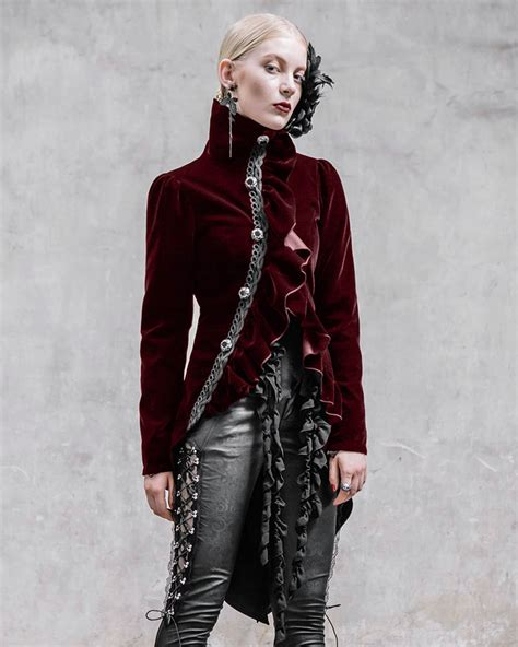 ebay fashion devil fashion requiem womens tailcoat jacket red velvet