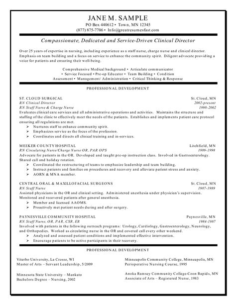 Sample nursing resume clinical experience rn clinical director resume