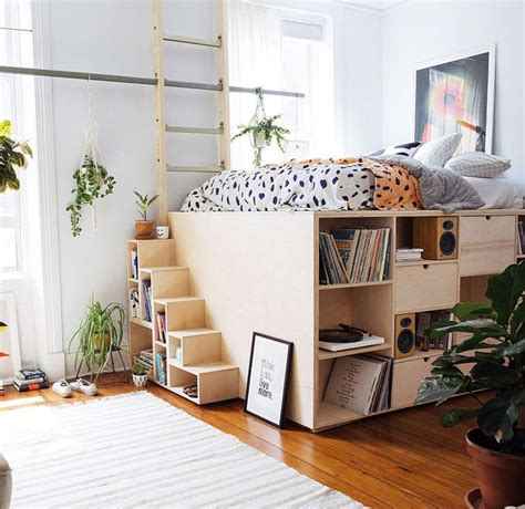 elevated bed  storage tiny bedroom elevated bed