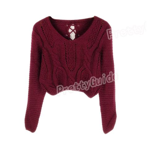 Hollister Lace Up Shirt With Lace Sleeve Maroon eyelet cable knit lace up crop sleeve sweater