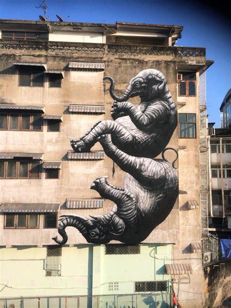 elephants  roa  bangkok thailand streetartnews